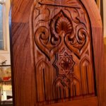 This carved door design was based on elements seen in the Alhambra. It was produced in African Mahogany.