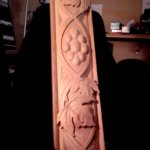 This test piece shows a grape vine motif that was carved in walnut and incorporated into a large wine cabinet.